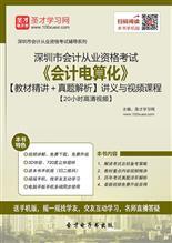 深圳市会计从业资格考试《会计电算化》【教材精讲+真题解析】讲义与视频课程【20小时高清视频】