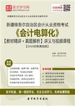 新疆维吾尔自治区会计从业资格考试《会计电算化》【教材精讲+真题解析】讲义与视频课程【20小时高清视频】